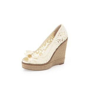 Tory Burch Jackie Lace Espadrille Wedge Pump